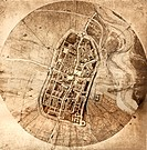 ´City map,  Imola, Italy, by the Italian artist and scientist Leonardo da Vinci (1452-1519).  Leonardo arrived in Imola in September 1502 to  survey  ...