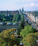 Princes Street and Princes Street Gardens. Edinburgh. Scotland