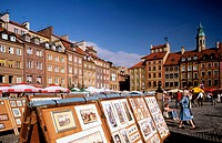 Drawings for sale in the Old Town Market Square (Rynek Starego Miasta). Warsaw. Poland