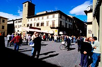 Main square in Sunday morning. Sansepolcro village, Arezzo province. Tuscany, Italy
