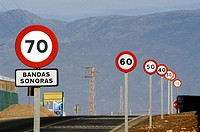 Traffic signs on a street from Roquetas de Mar to Almerimar. Almería province, Spain