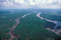 Aerial view of river over Kuching, Sarawak,Malaysia
