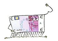 Euro bill smiling (thumbnail)