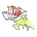 Piggy bank on euro bill flying over Europe