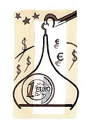 Bag of euros on scale