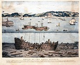 Lithograph printed by W Kolder showing the exploration of the wrecks of the ´Royal George´ and ´Edgar´, which lay 60 feet underwater in the Solent off...