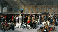 Oil on canvas painting by George Earl. A group of fashionable passengers are gathered on a platform at King´s Cross station, with their dogs, guns and...