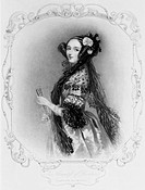 Stipple engraving after a watercolour portrait by Alfred Edward Chalon (1780-1860) of Ada King wearing evening dress with a mantilla and holding a fan...
