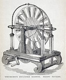 Illustration from ´The Influence Machine, How to Make It and How to Use It´ (1886) by James Wimshurst (1832-1903). Induction electrostatic machines li...
