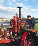 Demonstration of a vertical stationary steam pump mounted on a trailer at Wroughton in Wiltshire during the 1980s. This type of pump was used for fire...