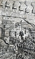 Etching satirising the effects of potential overpopulation by George Cruikshank (1792-1878). It shows people having to go to extraordinary lengths to ...