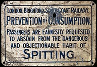 Enamel notice made for the London Brighton & South Coast Railway (LBSCR) reading ´Passengers are earnestly requested to abstain from the dangerous and...