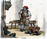 Vignette from a lithographic plate showing a cobbler at work. Taken from ´The Horse´ in ´Graphic Illustrations of Animals - Showing Their Utility to M...