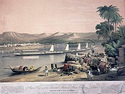 Chromolithograph of a river paddle steamer on an Indian river towing a series of sailing barges. One of a pair of illustrations taken from John Bourne...