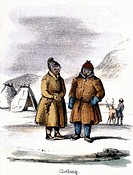 Vignette from a lithographic plate showing Eskimo clothing. Taken from ´The Rein Deer´ in ´Graphic Illustrations of Animals - Showing Their Utility to...