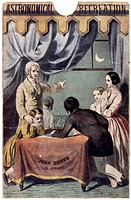 Coloured lithograph by the Leighton Brothers from the cover of an educational game, showing a family examining a star chart and relating it to the nig...