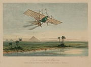 Coloured lithograph by W L Walton and published by Ackermann & Company showing Henson´s Aerial Steam Carriage in a fictitious flight over the Nile and...