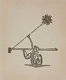 Print of a diagram showing the way a backstaff or Davis quadrant, a navigational instrument, is used to measure the elevation of the Sun. Measured at ...