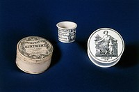 These are cream ointment pots, one of which has an inscribed lid, supplied by Holloway.