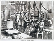 Plate taken from the Illustrated London News, showing men at work in the Instrument Gallery at the Central Telegraph Establishment of the General Post...