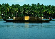 India, Kerala houseboat on water