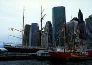 USA, ships in city harbour
