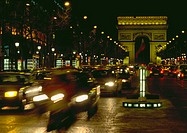 France, Paris, Arc de Triomphe at night