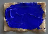 Blue paint on art paper