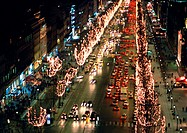 France, Paris, Champs Elysees, at night at Christmastime, high angle view