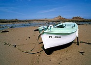 France, Cotes-d'Armor, boat on shore