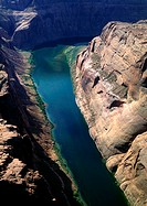 Colorado, Colorado River running through Grand Canyon, aerial view