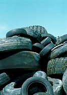 Used tires in a pile
