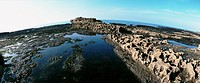 France, rocky seascape, panoramic view