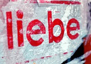 'Love' text in German, close-up