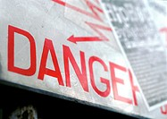 Danger sign, close-up (thumbnail)