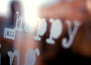 'happy' text, close-up, blurred