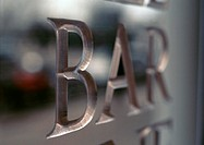 'Bar' text engraved, close-up