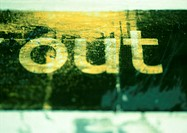 'Out' text, close-up