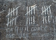 Chalk marks measuring time on wall, close-up