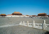 China, Beijing, Forbidden City, people in courtyard