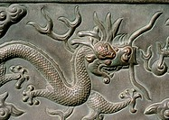 China, Beijing, Forbidden City, bas relief representing dragon, close-up