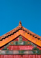 China, Beijing, Forbidden City, architectural detail on roof of palace