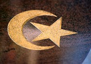 Islamic symbol in gold, close-up