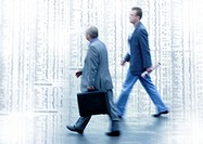 Two men walking on stock quotes, montage