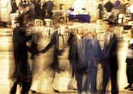 Israel, Jerusalem, group of people in square, blurred motion