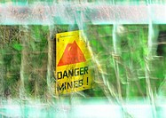 'Danger mines!' sign, montage