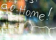'Go Home' typography overlaying blurry, abstract image, montage