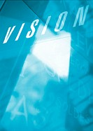 'Vision' typography in blues and white, montage