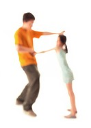 Silhouette of girl and teenage boy dancing, on white background, defocused