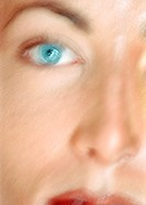 Woman´s face, partial view, close-up, blurred